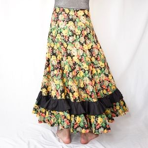 Vintage Skirts - Vintage Flare Floral Maxi Skirt Hand Sewn Ruffle